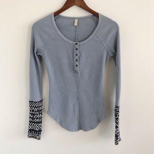 Free People Thermal Henley Cotton Blend Top XS